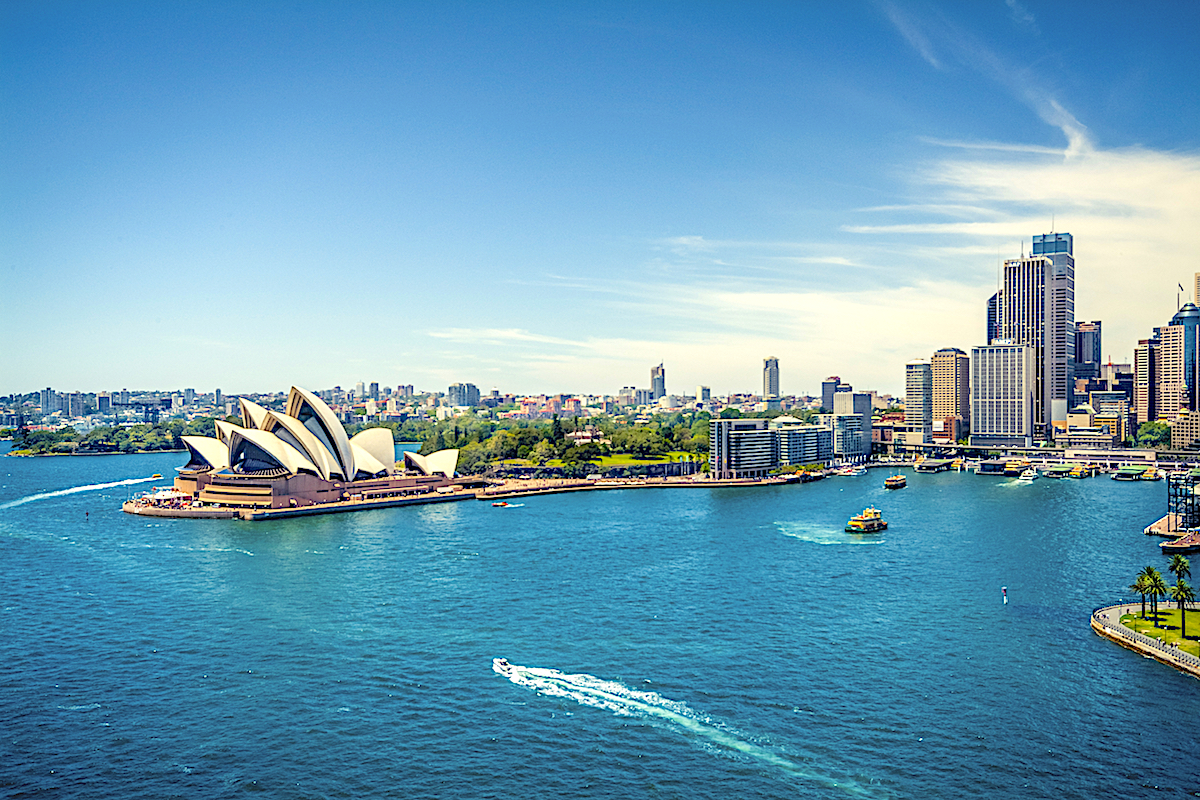 View of Sydney Harbor with Opera House and Harbor Bridge